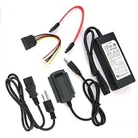 takestop® ADATTATORE CONVERTITORE USB 2.0 SATA/IDE CABLE CAVO CON ALIMENTATORE