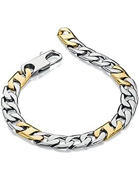 Fred Bennett Edelstahl Gold PVD Detail Link Armband