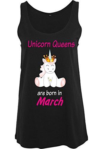 Ladies Damen Top Tanktop Sommertop Damentop Einhorn Unicorn Queens are born Schwarz March
