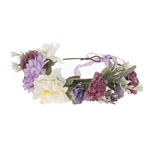 Lazzboy 2019 Garland Frauen Handgefertigte Blumen Haarband Krone Hochzeit Kranz Braut Kopfschmuck(M,Lila)