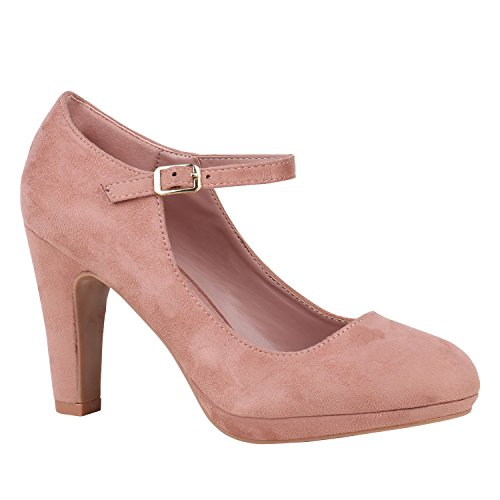 Damen Schuhe Plateau Pumps Lack Spangenpumps High Heels Blockabsatz 152439 Rosa Velours Basic 40 ()
