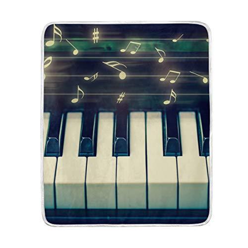 Ahomy Weich, Musik Note Tastatur Travel Größe: 127x 152cm Decken Sofa Überwurf Bettüberwurf, geeignet für Stuhl oder Bett