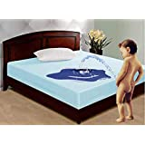 Rite Clique Cotton Waterproof Double Bed King Size Bedsheet Cover Protector for Baby and Kids (90x100 Inch, Blue)