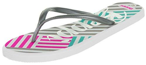 Beppi Badesandalen Unisex-Sandalen Zehentrenner Karo Muster Streifen| Freizeit-Slipper Zehengreifer Mint Pink Grau | Weiche Sohle Größe 39 (Karo Bad)