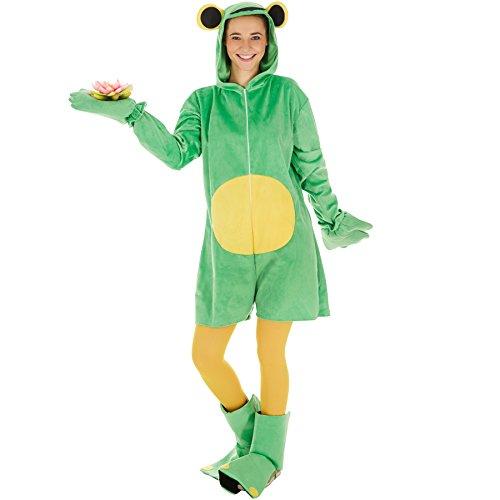 Kostüm Frosch für Sie und Ihn | Aus weichem Nickistoff gefertigt | Vorne mit praktischem Reißverschluss | inkl. Handschuhe, Stulpen und Strumpfhose (L | Nr. (Billig Kostüme Erwachsene Sexy)