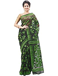 Slice Of Bengal Handloom Tangail Silk Cotton Dhakai Jamdani Saree Green 101011000348