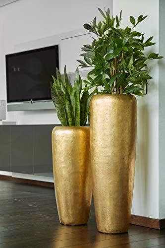 Edle & Hochwertige Pflanzvase/Pflanzkübel - Fiberglas - Mit Einsatz - Indoor - Metallic/Metallisch Blumenkübel/Pflanzgefäß/Vase/Kübel (Klein: 75cm, Gold)