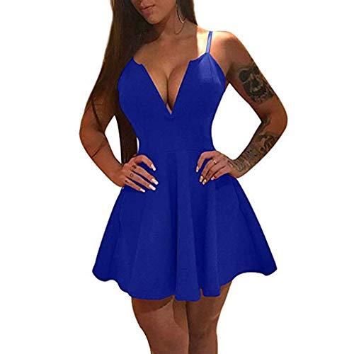 gant Beiläufiges Mode Schlinge mit tiefem V-Ausschnitt Slim A-Line Rock Lotus Kleid Festlich Hochzeit Abendkleider Strandkleider Partykleid(S,Blau) ()