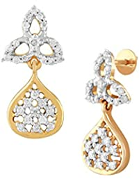 TBZ The Original 18KT Yellow Gold and Solitaire Drop Earrings for Women