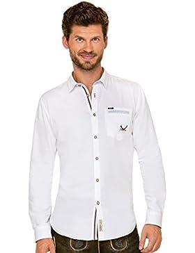 Trachtenhemd Langarm Modern Fit Musk Weiss