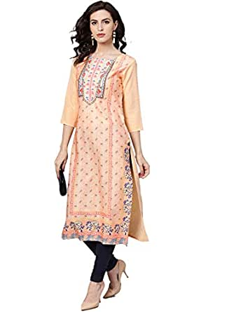 Vaamsi Women's crepe a-line Kurta (VPK1627A_S_ Orange_ Small)