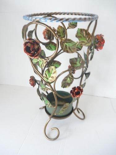 Portaombrelli in ferro battuto tondo con rose e foglie decorative
