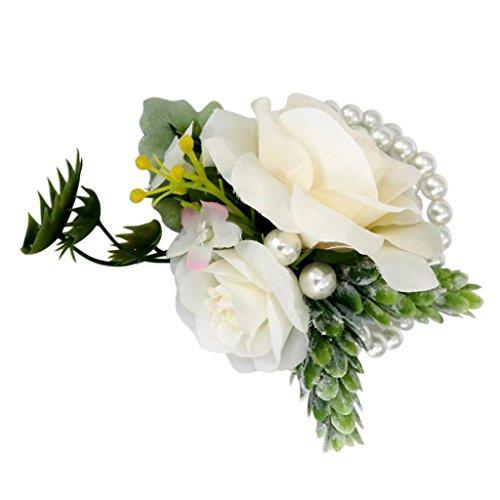 Magideal corsage del polso braccialetto di fiore per sposa damigelle inviti fiori artificiali con perla decorazione matrimonio - champagne