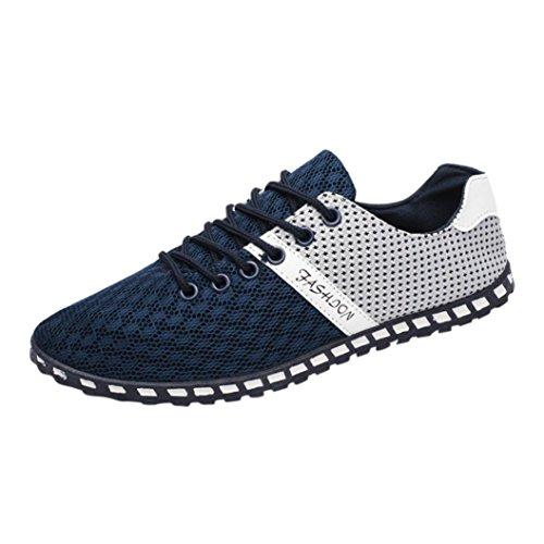 Sommer Schuhe Xinan Männer Mesh Bequeme Atmungsaktive Sneakers Flache Schuhe Sandalen Indoor & Outdoor Pantoffeln Flip Flops (EU:45, Blau) (2 Leder Casual Schuh)