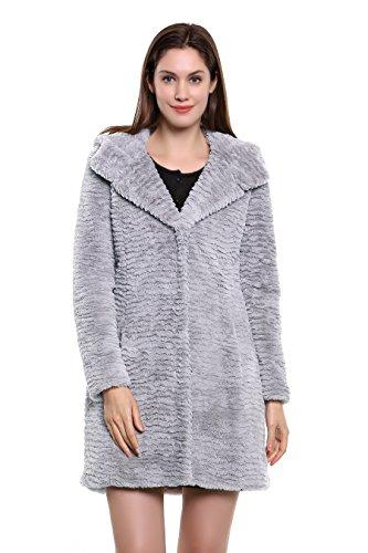 Adelaqueen Damen Wintermantel im luxuriösen persischen Lammfell Fantastischer Kunstfell Mantel In Grau Mit Kapuze (Größe: (Cheetah Kostüme Frauen Für)