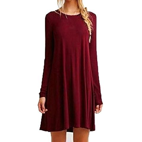 Reaso Femmes Robe pour Printemps et Automne, En vrac Col Rond Manche longue Ébouriffer Mini Robe de Casual (M, Rouge)