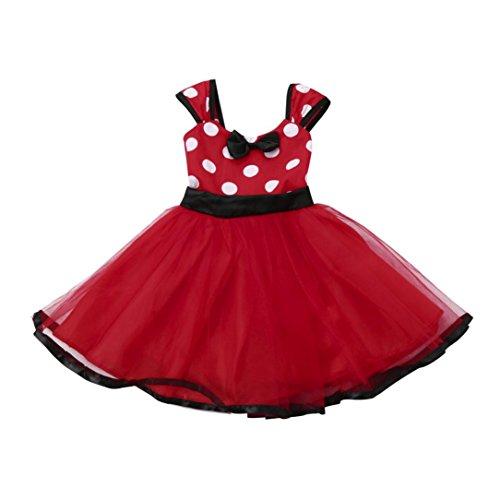 ❤️Robe de Filles , Amlaiworld Enfants Filles Tutu Princesse Dot Robe de Noël Tenues Vêtements Fille Robe de Soie Pour 6Mois-4Ans Fille (90/12-18mois, Rouge)