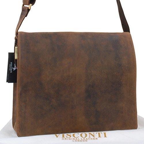 Sac Gibecière XL A4 Plus en cuir signé Visconti (16054) Tanne