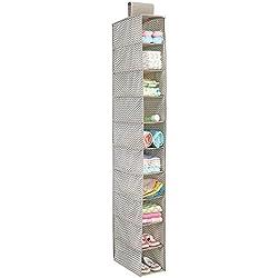 mDesign Colgador de tela – Perfecto organizador de tela para el cuarto de los peques o como zapatero de tela – Con 10 compartimentos – Color: topo/ natural