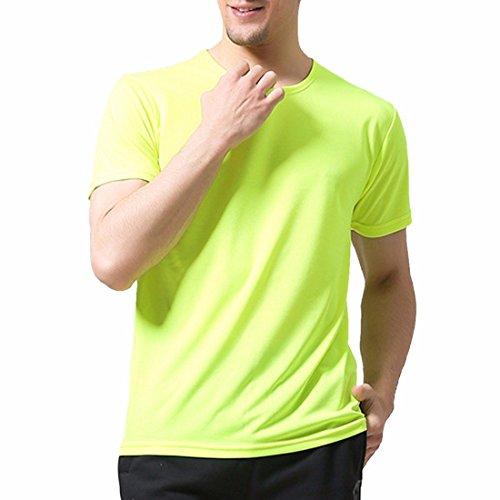 QIYUN.Z Männer Normallack Schnelltrocknend Outdoor-Sport Kurzarmhemden Sommer-T-Shirts Grün Fluoreszierend