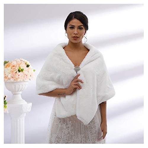 t Kunstfell Schal und Wickeltuch Brautfell Stola Cape Fell Schal für Braut und Brautjungfern - weiß - Einheitsgröße ()