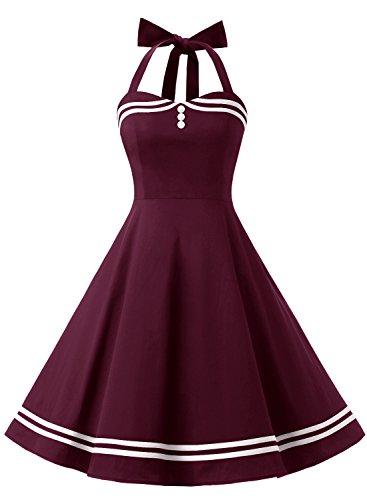 Timormode Rockabilly Kleider Neckholder 50s Vintage Kleid Retro Knielang Kleider Damenkleider Festlich Cocktailkleider 10387 Burgundy L