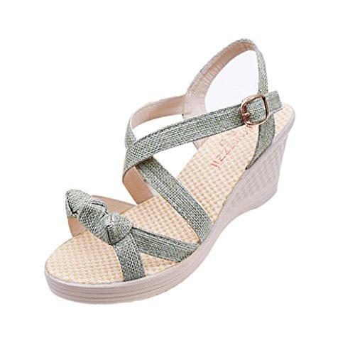 Bescita Frauen Schuhe Sommer Sandalen Casual Peep Toe Platform Wedges Sandalen Schuhe Grün