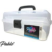 Pablo®–artistes de transport/Caddy Box (Blanc translucide)–Rangement Idéal pour artistes Pinceaux, crayons, pastels, peintures Plus Couture et artisanat Accessoires