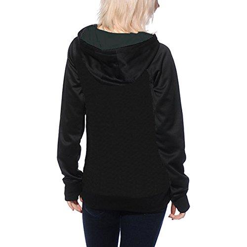 Damen Langarm Kapuzenpullover Druck Hoodies Oberteile Outdoor Sweatshirt Tops T-shirt Mit Pockets Kordelzug Schwarz