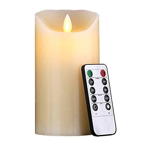 LED Kerzen, Flammenlose kerzen 180 Stunden Dekorations-Kerzen-Säulen (15,2 cm,je Ø 8cm). 10-Tasten Fernbedienung mit 24 Stunden Timer-Funktion (1 * 1, Ivory)