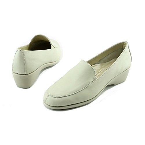 Narita - Mocassins Blanc Confortable Compensé souple - Aerobics C-Blanc