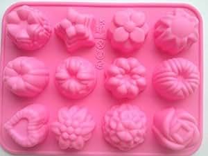 COLJOY Stampo per 12 Dolci a Forma di Fiore in Silicone, Rosa, Modello A06