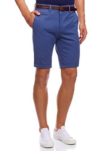 oodji Ultra Herren Baumwoll-Shorts mit Gürtel Blau (7500N)
