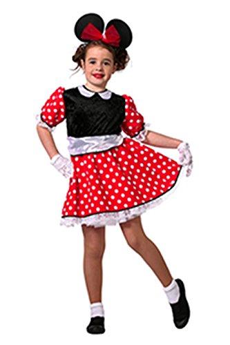 Mickey Fantasia Mouse Kostüm - Maus Kostüm Mädchen Rot mit weißen Punkten Comic-Maus Minnie Fantasy Märchen Karneval Fasching Hochwertige Verkleidung Fastnacht Größe 152 Rot/Schwarz