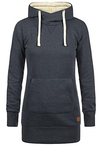 Weicher Pullover Kleid (Blend SHE Jenny Damen Kapuzenpullover Hoodie Sweatshirt mit Fleece-Innenseite aus hochwertiger Baumwollmischung, Größe:XS, Farbe:Navy (70230))