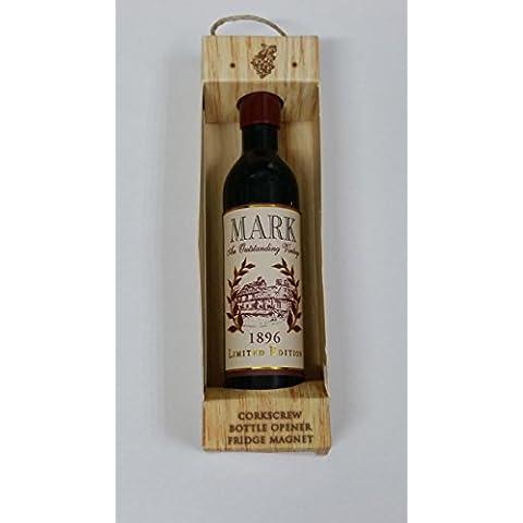 Mark Nome Magnete a forma di bottiglia di vino, apribottiglie, cavatappi, per regali, Natale, Ogni Occasione Effectz Sterling