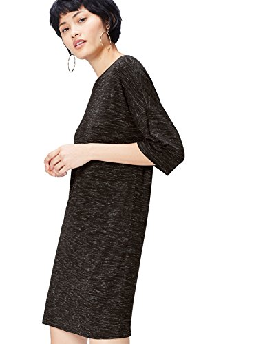 FIND Damen Kleid meliert, T-Shirt-Design, mit halblangen Ärmeln, Rundhals, Grau, 36 (Herstellergröße: Small)