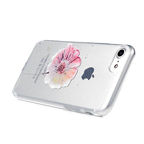 [2 Pcs] Cover iPhone 7,ZHXMALL Custodia iPhone 7 Silicone Trasparente TPU Flessibile Morbido Ultra Sottile Leggero Gel Gomma Cassa Protettiva Anti-urto Anti-Graffio Cellulari Protezione Shell Paraurti Windchimes + Fiori
