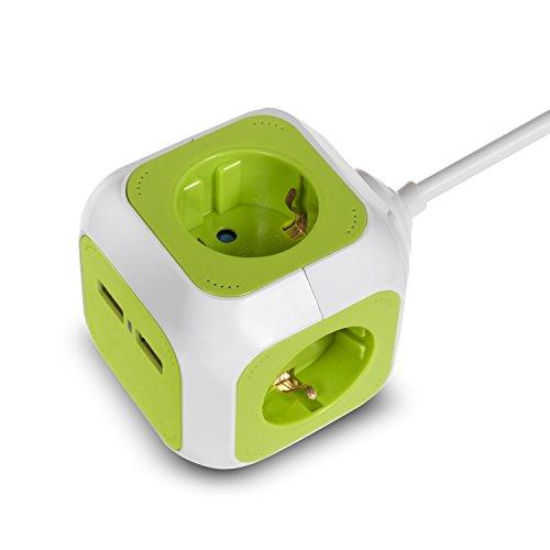 Green Blue GB118G MagicCube 4-fach Steckdosenwürfel mit 2 USB-Anschlüssen Steckdosen mit Kinderschutz 1,4m