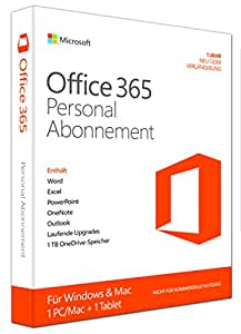 Microsoft Office 365 Personal - 1 PC/MAC - 1 Jahresabonnement - multilingual (Product Key Card ohne Datenträger)