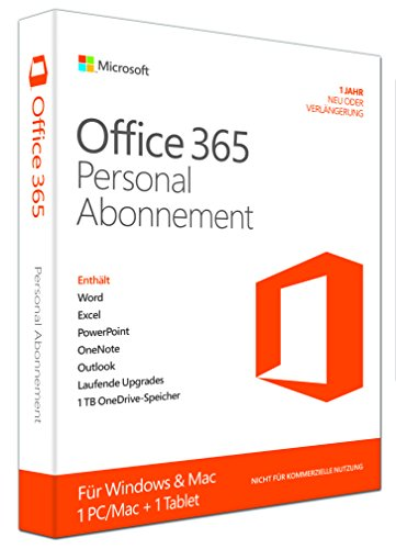 Microsoft Office 365 Personal - 1 PC/MAC - 1 Jahresabonnement - multilingual (Product Key Card ohne Datenträger) (Office 365-microsoft Personal)