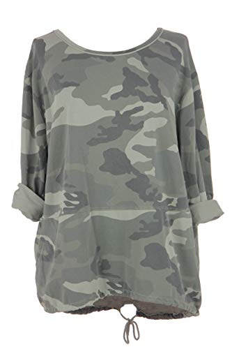 TEXTURE Ladies Womens Italian Lagenlook Long Sleeve 2 Pocket Camo Army Print Top Blouse Sweatshirt One Size (Khaki, One Size) Boxy-jersey Sweatshirt