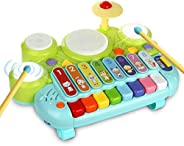3 in 1 Toddler Drum Set Piano Keyboard Xylophone Toys Musical Instrument Learning Developmental Light Up Toys