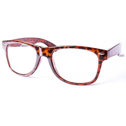 Sonnenbrille Nerdbrille retro Artikel 4026-63 braun leopard / klar / transparent