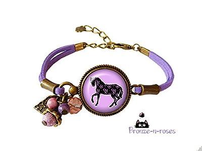 "Bracelet"" Cheval"" cabochon violet fleurs fille bronze bijou"