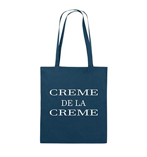 Comedy Bags - CREME DE LA CREME - Jutebeutel - lange Henkel - 38x42cm - Farbe: Schwarz / Silber Navy / Weiss