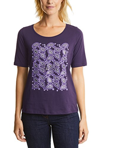 Cecil Basic Mit Paisley Print, T-Shirt Donna Violett (Dark Purple 31085)