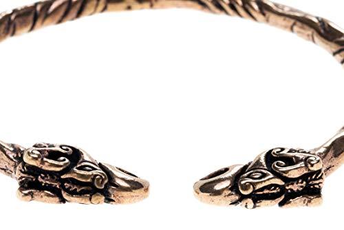 WINDALF Frauen Asatru Armreif HUGIN & MUNIN Ø 5.7 cm Odins Raben Wikingerschmuck Hochwertige Bronze