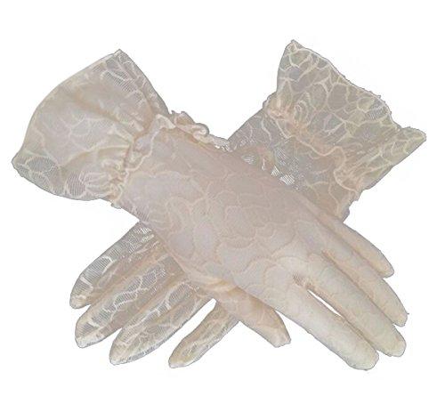 Kostüm Prinzessin Tee Party - Flywife Damen Braut Hochzeit Spitze Handschuhe Derby Tee Party Handschuhe viktorianischen Gothic Kostüme Handschuhe (Beige)