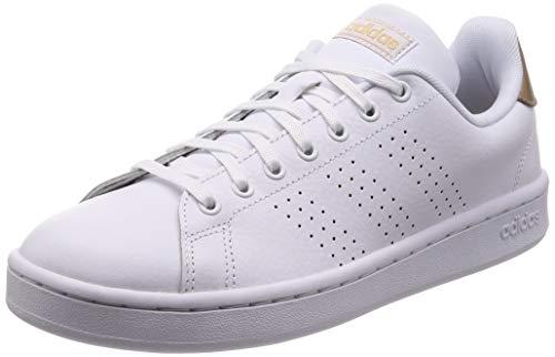 Adidas Advantage, Damen Hallenschuhe, Weiß (Ftwbla/Ftwbla/Cobmet 000), 41 1/3 EU (7.5 UK)